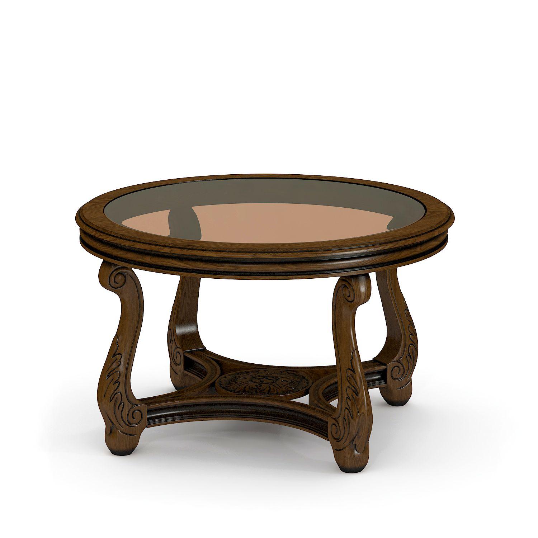 Купить круглый журнальный стол со стеклом из массива Тоскана №13/1