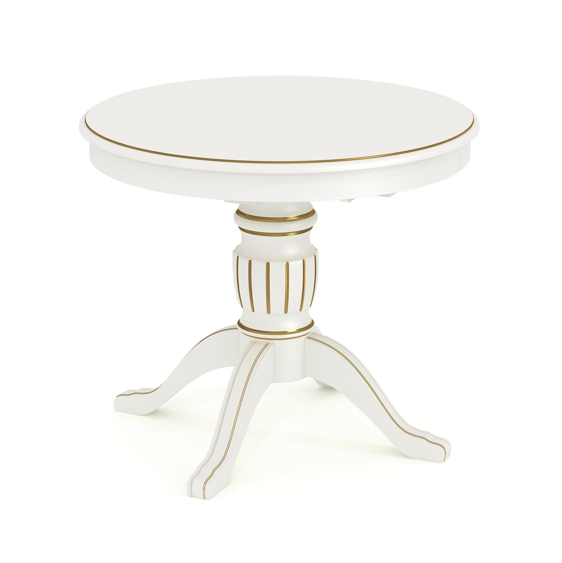 Купить стол обеденный круглый раскладной из массива Д 12 патина золото
