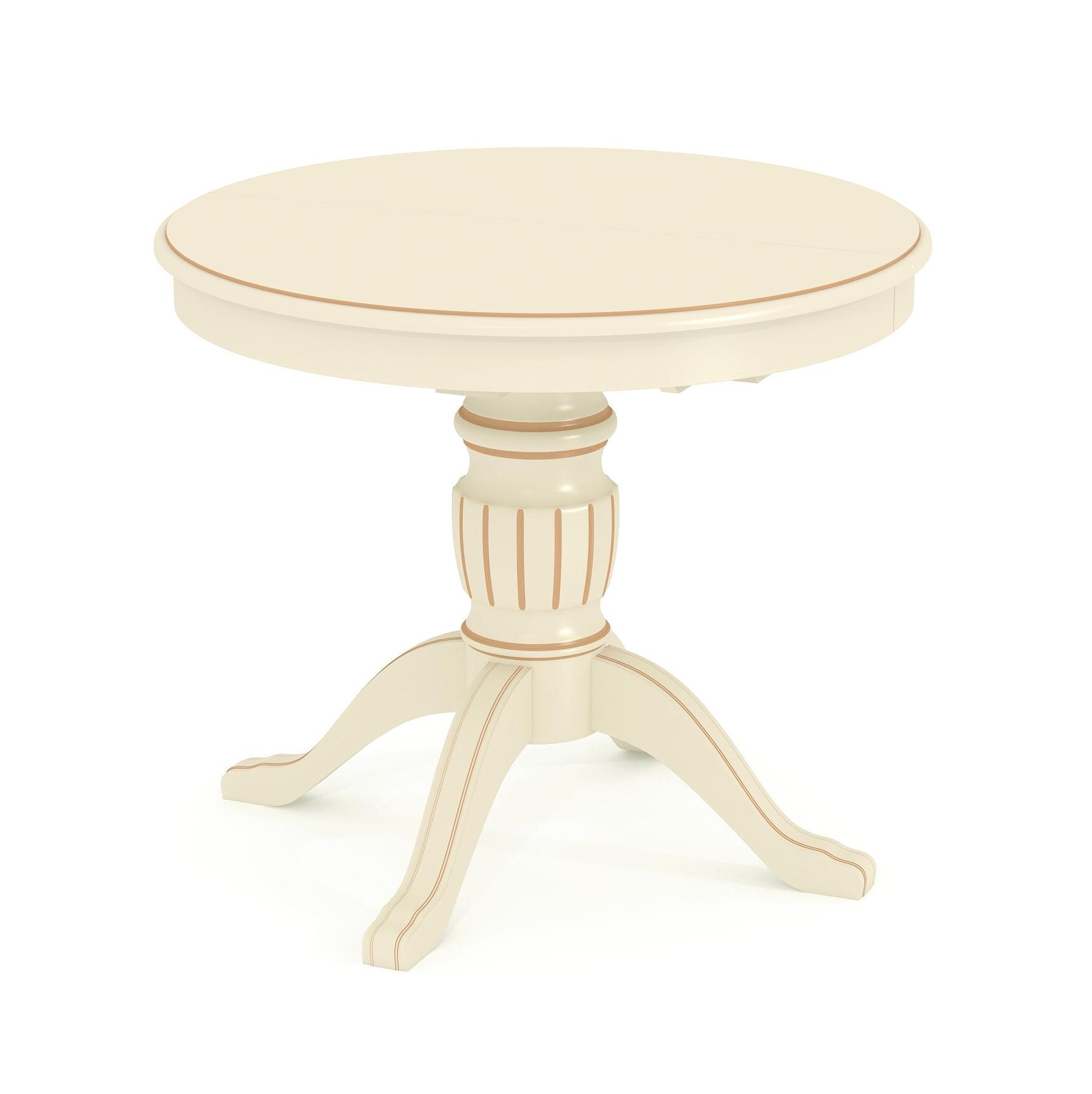 Купить стол обеденный круглый раскладной из массива Д 12 бежевая патина