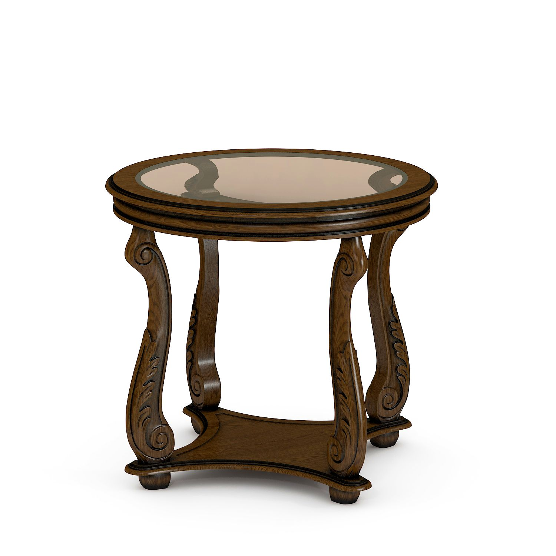 Купить круглый журнальный стол со стеклом из массива №16/1